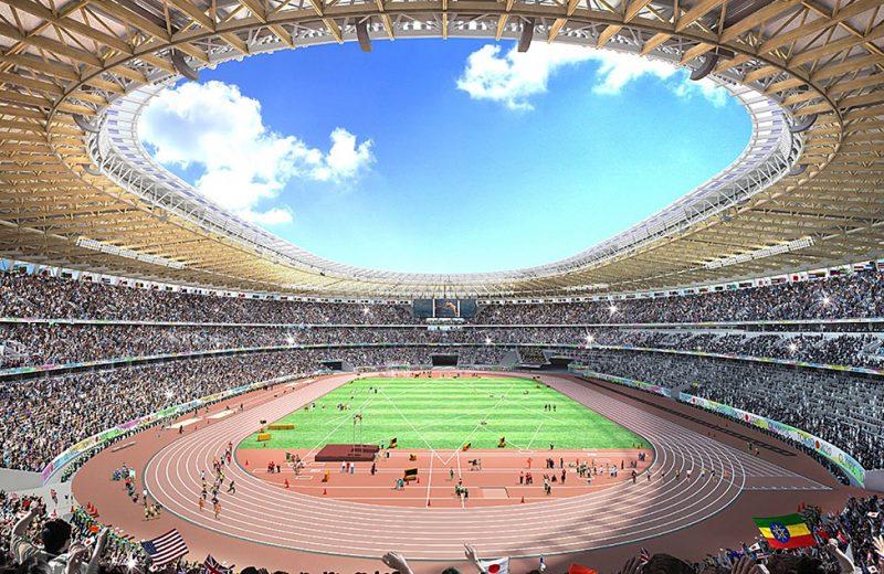 Drewniany stadion budowany na olimpiadę w Tokio